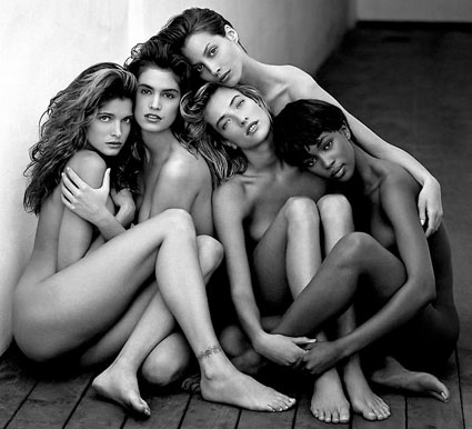 Stephanie, Cindy, Christy, Tatjana, Naomi, Hollywood, 1989 by Herb Ritts. Source: houkgallery.com
