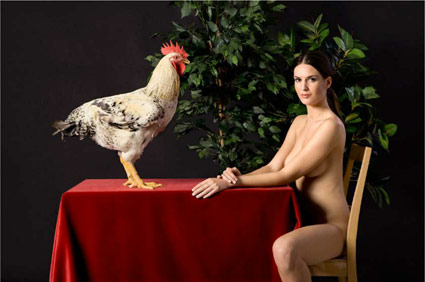 Untitled (Woman with Rooster) by Demitris Yeros. Source: throckmorton-nyc.com