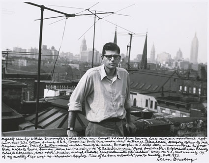 Myself seen by William Burroughs on roof of apartment house East Seventh Street where I had a flat..., 1953 by Allen Ginsberg. Source: nyu.edu/greyart