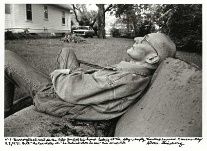 W.S.Burroughs at rest in the side-yard of his house by Allen Ginsberg. Source: nyu.edu/greyart