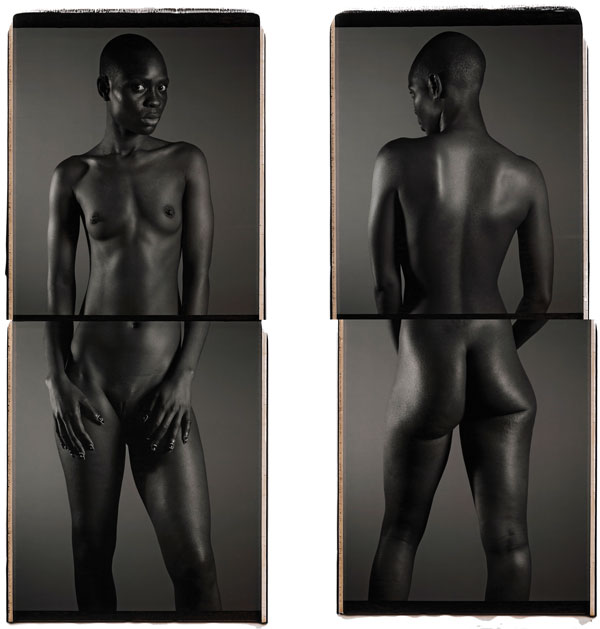 "Photo by Chuck Close . Source: thepacegallery.com copyright  Chuck Close, courtesy Pace Gallery<p>Chuck Close<p>Bintou I, 2013<p>black and white Polaroid diptych mounted on aluminum<p>56"" x 22"" (142.2 cm x 55.9 cm), two panels, each"