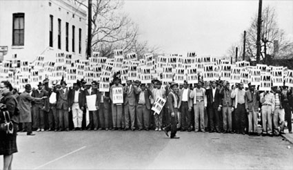 Sanitation Workers Assemble in Front of Clayborn Temple for a Solidarity March, Memphis, TN, March 28, 1968 by Ernest C. Withers. Source: newyorker.com